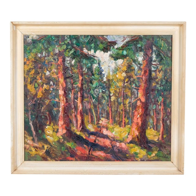 Expressionist Forest Lined Path by Finn Andersen For Sale