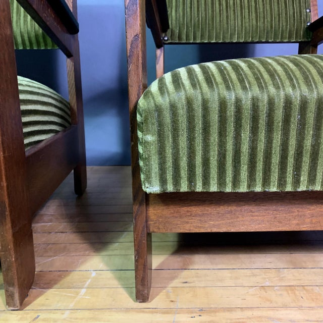 Pair 1940s Wenge Wood Armchairs, Corduroy & Rosewood For Sale In New York - Image 6 of 11