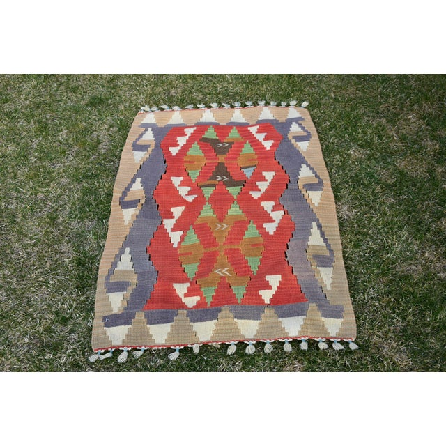 Turkish Traditional Handwoven Anatolian Nomadic Rustic Style Oushak Kilim Rug For Sale - Image 13 of 13