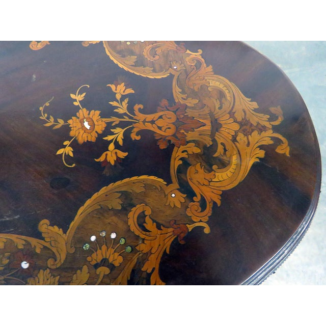 Gold Victorian Inlaid Center Table For Sale - Image 8 of 13