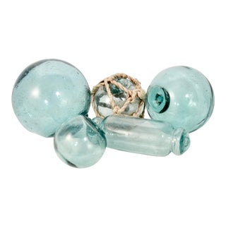 Aqua Blue Antique Blown Glass Fishing Floats - Set of 5 For Sale