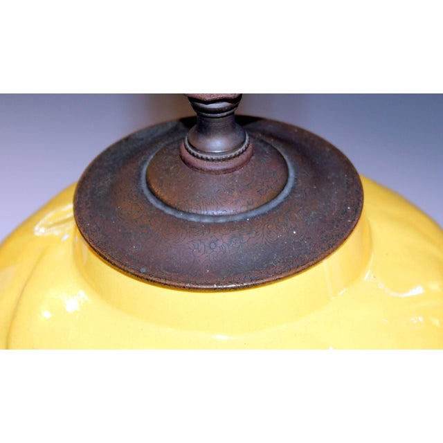 """Vintage Stangl Art Deco Pottery """"Archers"""" Atomic Yellow Large Globe Vase Lamp For Sale - Image 9 of 11"""