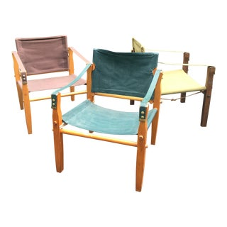 1960s Vintage Canvas Safari Chairs - Set of 3 For Sale