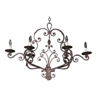 Early 20th Century French Six-Light Iron Chandelier = For Sale