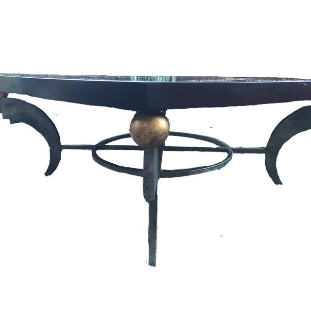 Solid Wood Mid Century Coffee Table: Mid-Century Solid Wood & Wrought Iron Coffee Table
