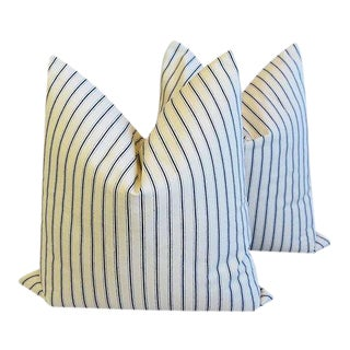 Custom New England Nautical Striped Feather/Down Pillows - a Pair
