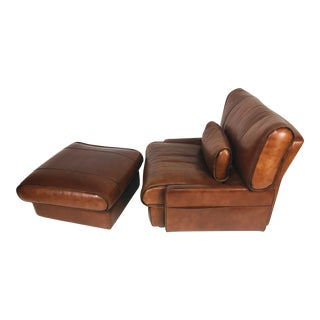 1990s Italian Leather Chair With Ottoman - 2 Pieces For Sale