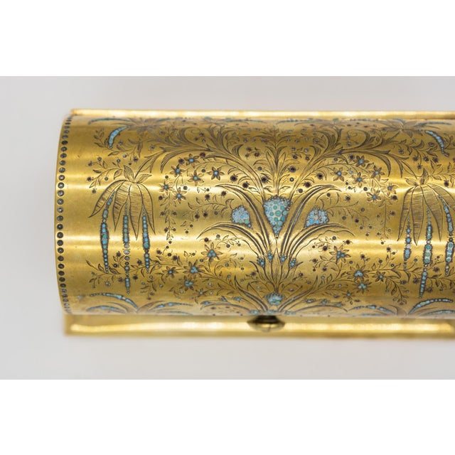Metal Rare Solid Brass Stationery Box Inlaid With Turquoise and Garnets, France, Circa 1860. For Sale - Image 7 of 11