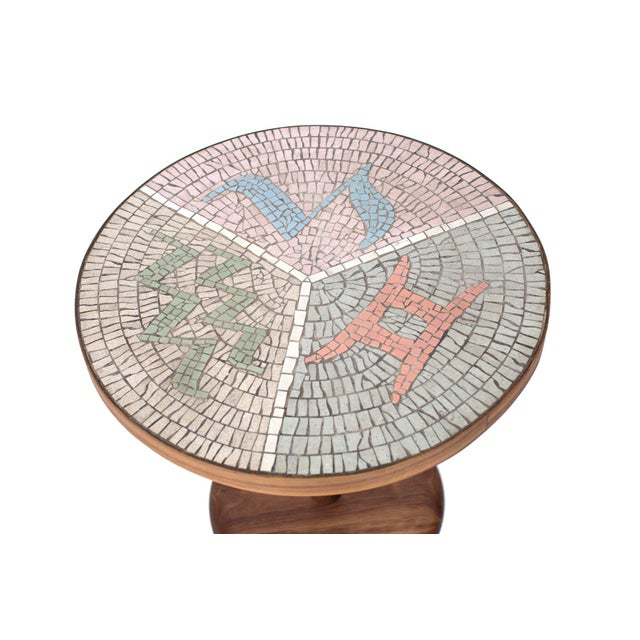 Mid-Century Modern Walnut and Mosaic Side Table For Sale - Image 3 of 5