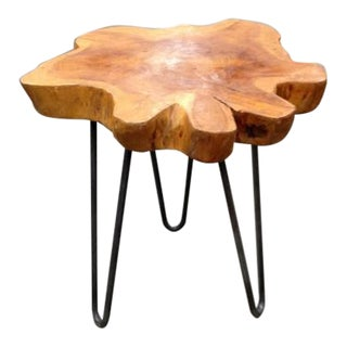 Indonesian Free-Form Teak on Custom Iron Stand For Sale