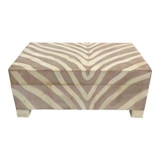 Zebra Design Contemporary Decorative Box For Sale