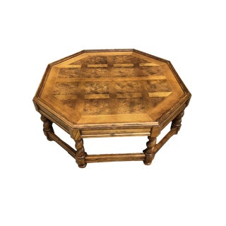 1980s French Country Baker Furniture Octagon Parkay and Barley Twisted Leg Coffee Table For Sale