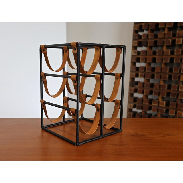 1955 Arthur Umanoff Iron and Leather Straps Wine Rack For Sale - Image 9 of 9