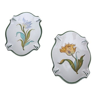 Vintage Italy Botanical Motif Trays - a Pair For Sale