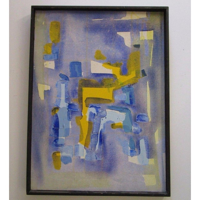 Canvas Vintage Abstract Expressionism Painting Non Objective Art Pop Expressionist MCM For Sale - Image 7 of 7