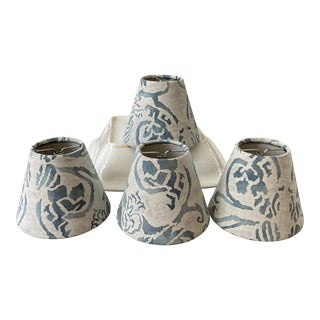 Contemporary Blue & White Fortuny Chandelier Shades - Set of 4 For Sale