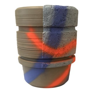 Modern Ceramic Planter With Orange and Blue Design For Sale