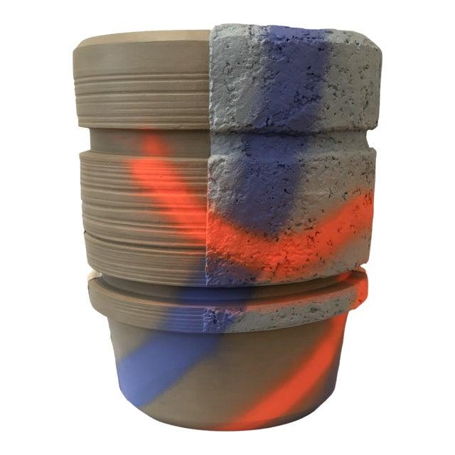 Modern Ceramic Planter With Orange and Blue Design For Sale
