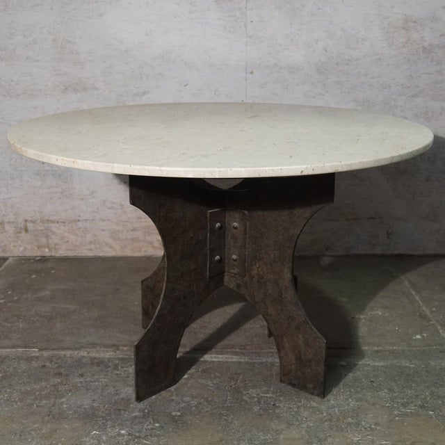Iron X-Base Dining Table With Honed Stone Top