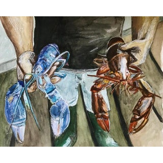 """Sophie Hoad Halma """"Crotch Lobster"""" Original Watercolor Painting For Sale"""