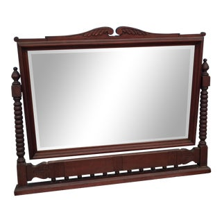 Late 19th Century Antique Adjustable Mahogany Wood Wall Mirror For Sale