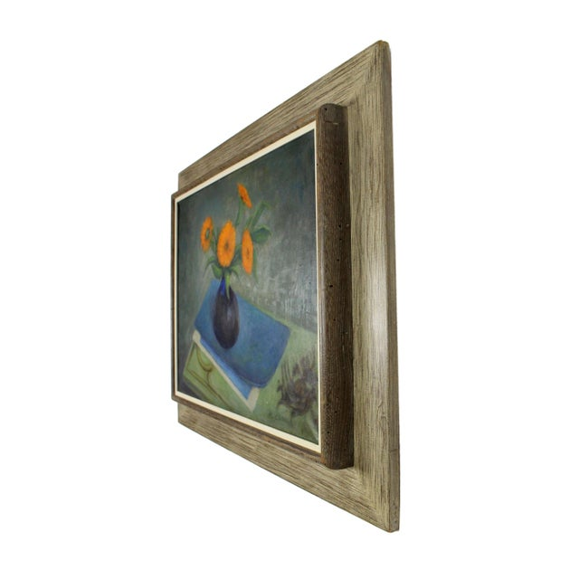 Vintage still life oil painting on canvas. It is framed in a driftwood protruding frame, color is light gray. Signed.
