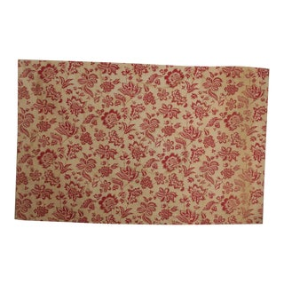 """Antique 1900s French Red Floral Printed Cotton & Linen Fabric - 51"""" x 32"""" For Sale"""