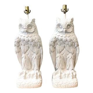 Vintage Monumental Plaster Owl Lamps - a Pair For Sale