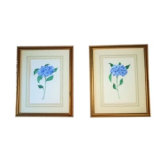 Hydrangea Watercolors by Christine Frisbee Matted and Framed 22 X 28 - a Pair For Sale