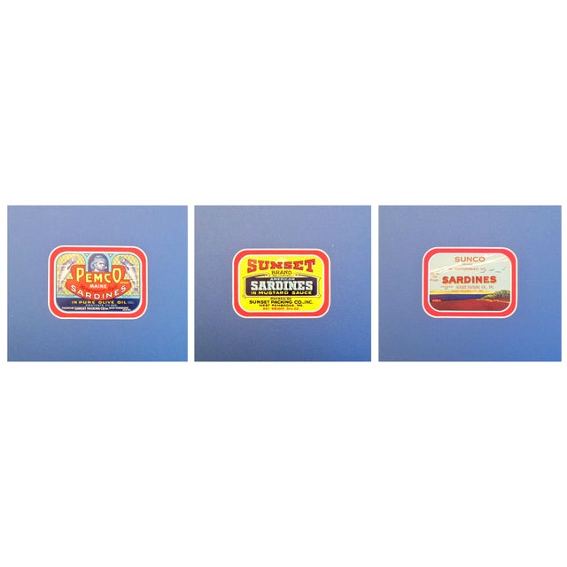 1930-40s American Sardine Labels - Set of 3 For Sale
