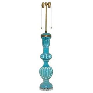 Marbro Murano Opaline Glass Table Lamp Aqua For Sale