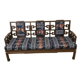 Rosewood Carved Greek Key Sofa For Sale
