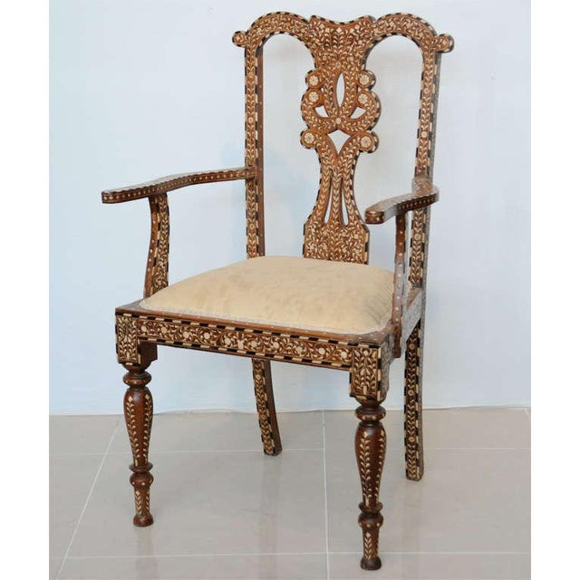 Wood Rare Set of Four Anglo-Indian Hardwood and Bone Inlaid Armchairs For Sale - Image 7 of 11