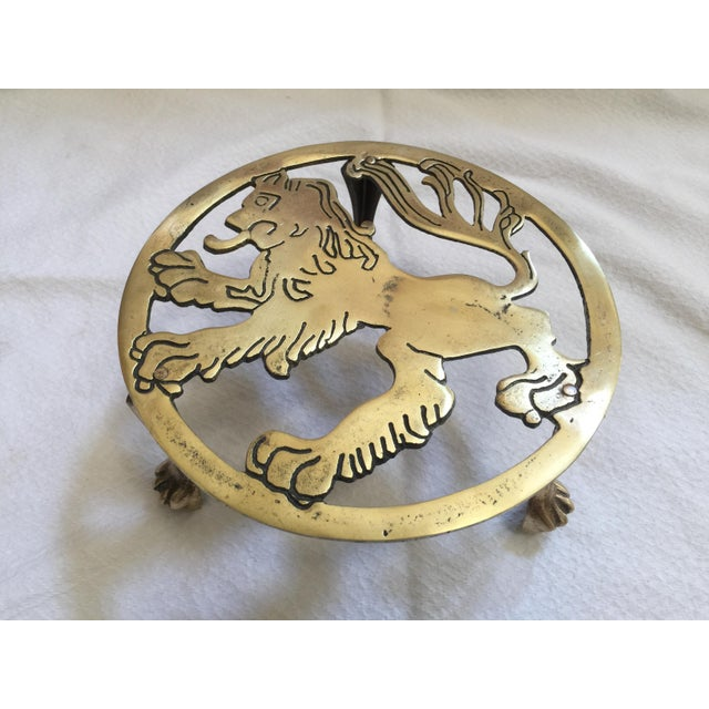 Mid-Century Modern English Brass Lion Trivet For Sale - Image 3 of 7