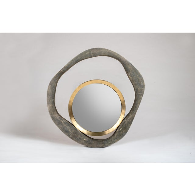 Lily Mirror Medium in Cream Shagreen and Bronze-Patina Brass by R&y Augousti For Sale In New York - Image 6 of 7