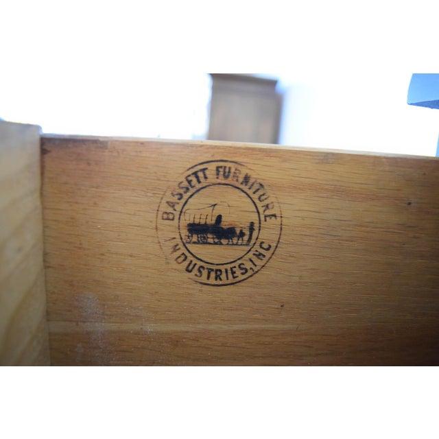 Bassett Serpentine Flat Navy-Blue and Gold Highboy Dresser - Image 10 of 11