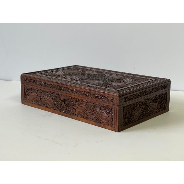 Early 20th Century Wooden Carved Box For Sale - Image 4 of 13