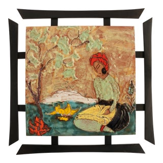 Mid-Century Asian Tile Wall Hanging For Sale