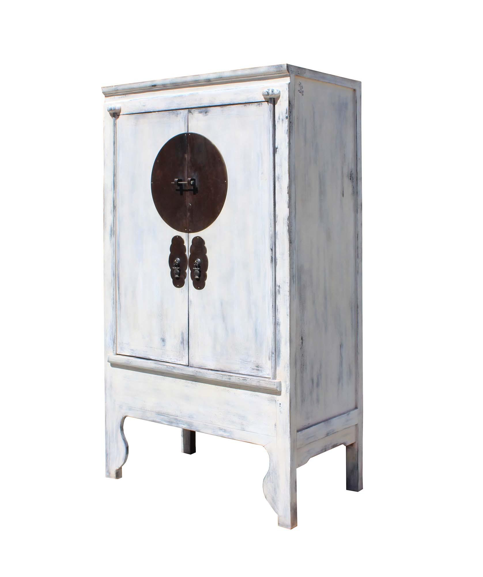 Asian Chinese Distressed Off White Tall Wedding Armoire Wardrobe Tv Cabinet  For Sale   Image 3