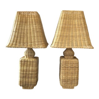 Vintage Wicker Ginger Jar Table Lamps - a Pair