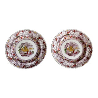 Antique Ridgways 'Oriental' Mulberry Plates - a Pair For Sale