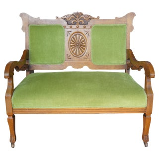 Late 19th Century Antique Victorian Carved Oak Settee For Sale