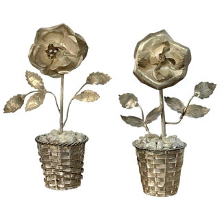 Pair of Sterling and Mother-Of-Pearl Floral Topiaries For Sale