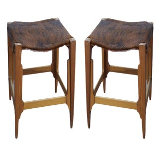 Pair of Architectural Frame Cowhide and Wood Barstools For Sale
