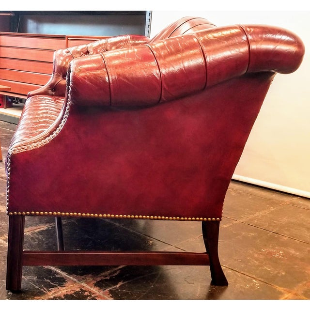 Metal Vintage Burgundy Leather Button Tufted Camel Back Sofa With Antiqued Brass Nailheads For Sale - Image 7 of 10
