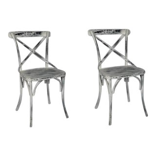 Home Furniture White Distress Finish Metallic Color Macy Iron Chairs- A Pair For Sale
