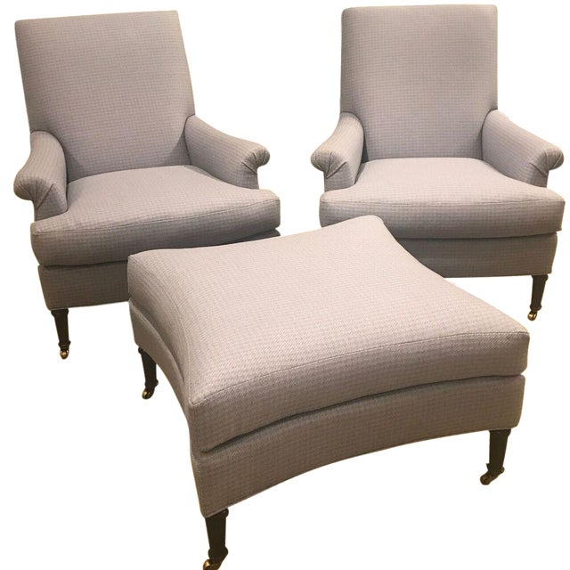 Hickory Chair Virginia Chairs & Ottoman - Set of 3 For Sale