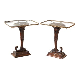 Pair of English Carved Cornucopia Glass Top Side Tables with Brass Galleries For Sale