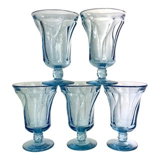 Mid Century Ice Blue Jamestown Water Goblet Glasses by Fostoria Set of Five For Sale