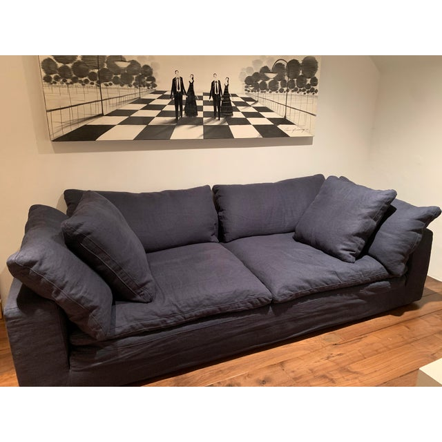 Restoration Hardware Navy Cloud 2 Seat Down Sofa For Sale In San Francisco - Image 6 of 13